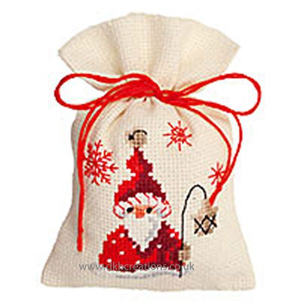 Santa With Lantern Pot Pourri Bag Cross Stitch Kit